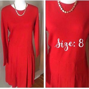 J. Crew NWT Flame Red Ponte Pleated Dress Size 8